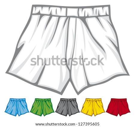 boxer shorts collection (underwear, men's boxer shorts, man underwear, underwear men's boxer shorts, underwear set) - stock vector
