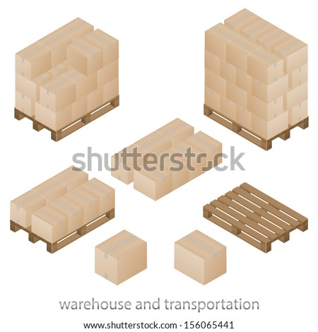 Boxes and pallets set - stock vector