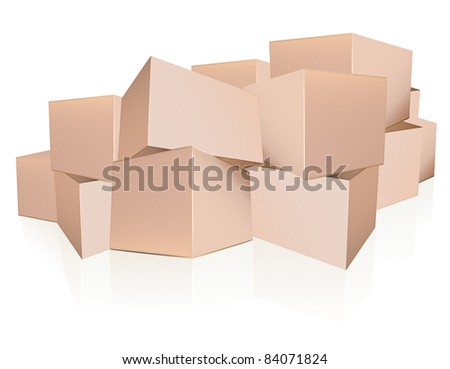 Boxes heap - stock vector