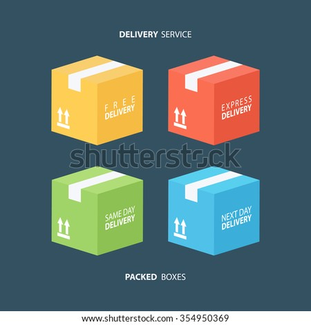 Boxes icons set. Color packed boxes. Carton package box icons. Free delivery, express delivery, same day delivery, next day delivery. Vector illustration. - stock vector
