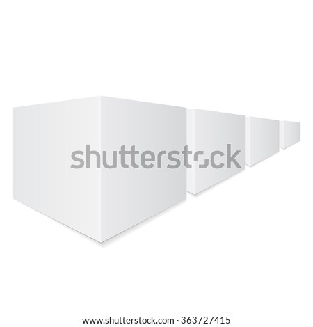 Boxes in perspective. Set boxes - stock vector