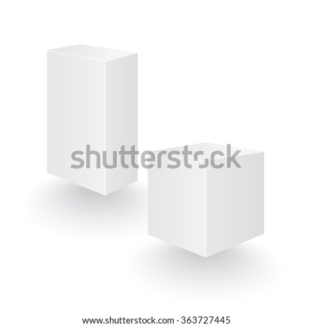Boxes perspective. Boxes set. Boxes eps. Boxes blank. Boxes template. White boxes for your design. Two three-dimensional boxes. Vector illustration, esp 10 - stock vector