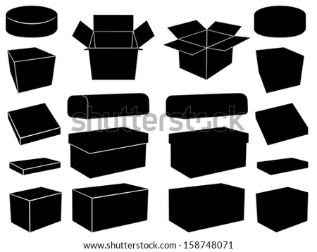 Boxes set illustrated on white - stock vector