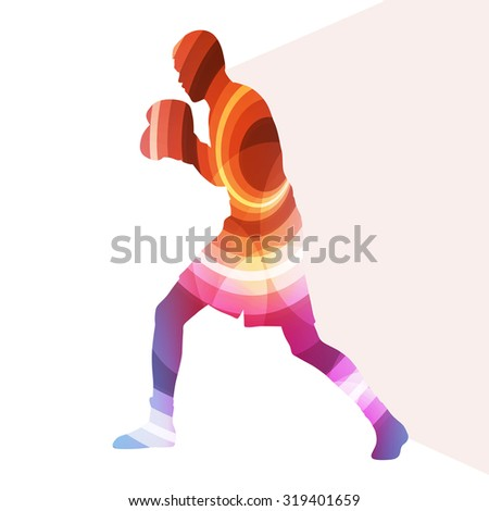 Boxing active young man box sport silhouette illustration vector background colorful concept made of transparent curved shapes - stock vector