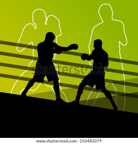 Boxing active young men box sport silhouettes abstract background illustration vector - stock vector
