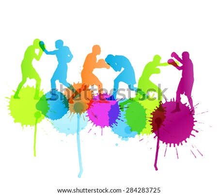 Boxing active young men box sport silhouettes abstract background illustration vector concept with color splashes - stock vector