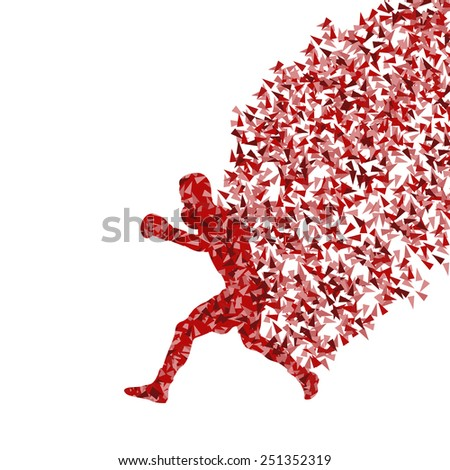 Boxing active young men vector background concept made of fragments - stock vector