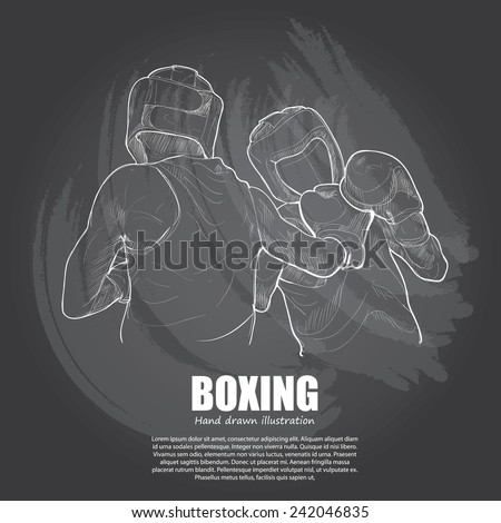 Boxing background Design. Hand drawn. - stock vector