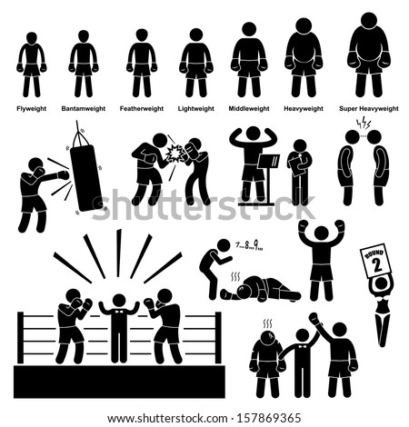 Boxing Boxer Stick Figure Pictogram Icon - stock vector
