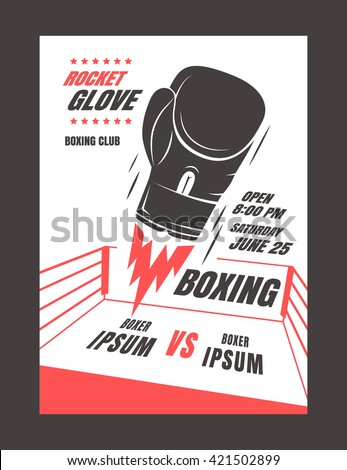Boxing championship poster template design. Glove rocket. Powerful punch. Vector illustration - stock vector
