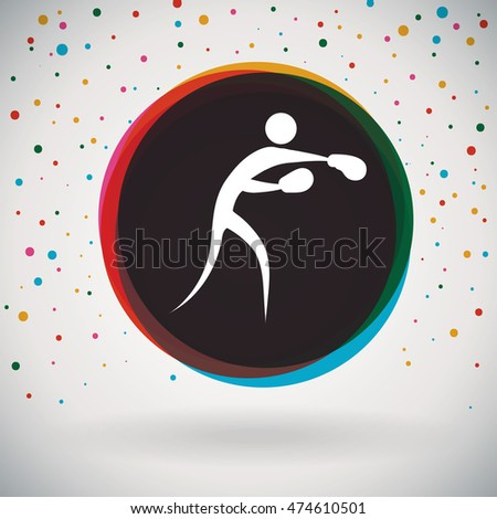Boxing - Colorful icon and sports background