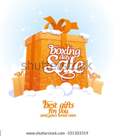 Boxing day sale design with gift box in snow. - stock vector