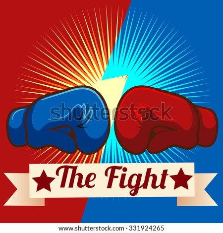Boxing gloves and text on ribbon illustration