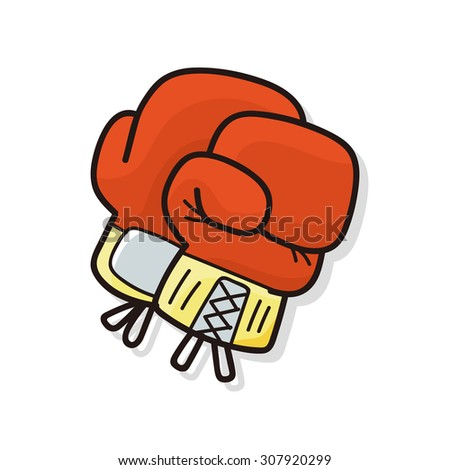 Boxing gloves doodle - stock vector
