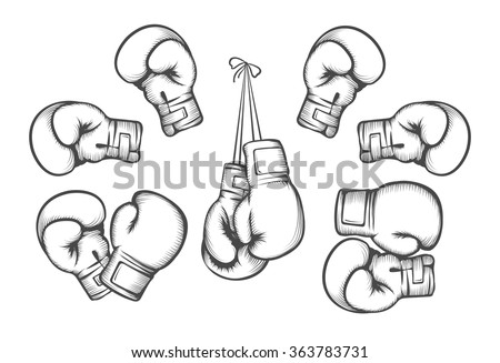 Boxing gloves. Equipment for fight competition, hanging and protection hand. Vector illustration - stock vector