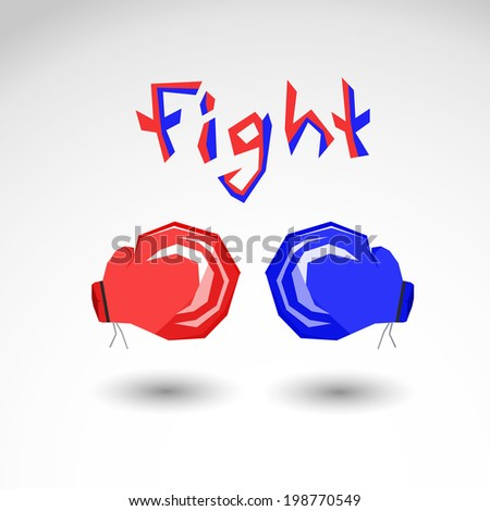 Boxing gloves for fighting flat vector icon illustration isolated background - stock vector