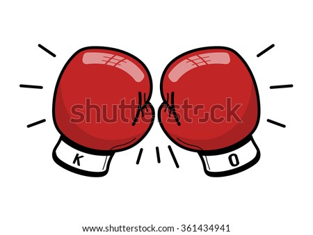 Boxing gloves hitting together - stock vector