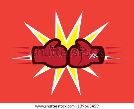 Boxing gloves hitting together with explosive background  - stock vector