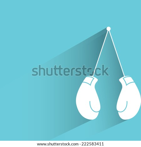 boxing gloves in blue background, flat and shadow design - stock vector