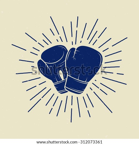 Boxing gloves in vintage style. Vector illustration - stock vector