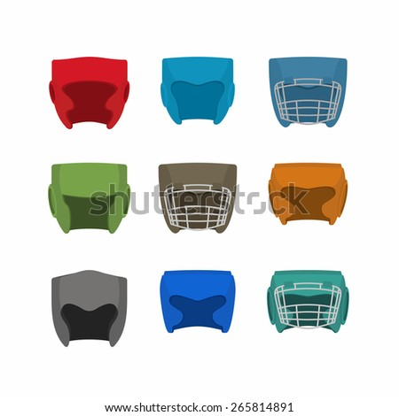 Boxing helmet set. Vector illustration
