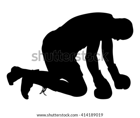Boxing. Knockout, boxer on the ground. vector silhouette illustration. - stock vector