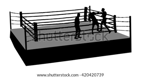 Boxing match vector silhouette illustration isolated on white background. An boxing ring surrounded by ropes. Boxer in ring vector silhouette illustration isolated on background.