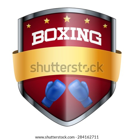 Boxing Shield badge. The symbol of the sports club or team. Vector Illustration isolated on white background. - stock vector