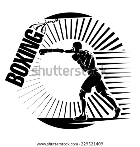 Boxing. Training with punching bag. Vector illustration in the engraving style - stock vector