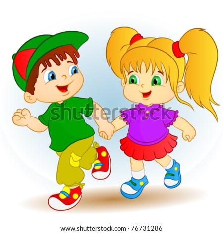 boy and girl - stock vector