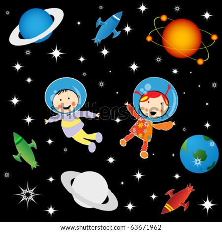 Boy and girl astronauts in cosmos, character development graphic - stock vector