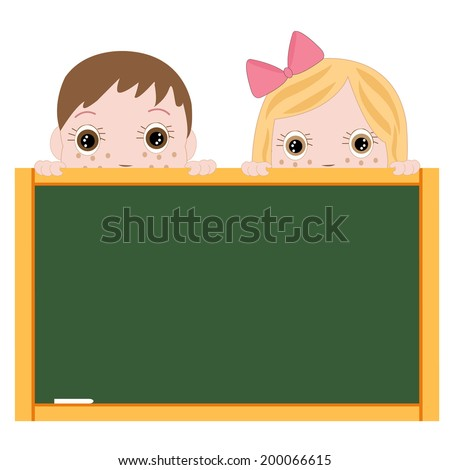 Boy and girl back to school holding blackboard vector - stock vector