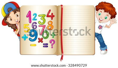 Boy and girl behind math book illustration - stock vector