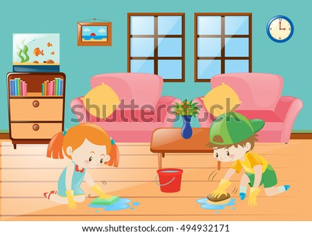 Boy and girl cleaning floor illustration