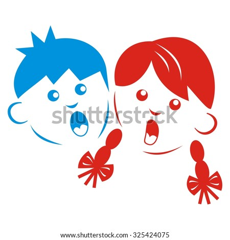 boy and girl, colored silhouette of singing children, vector icon - stock vector