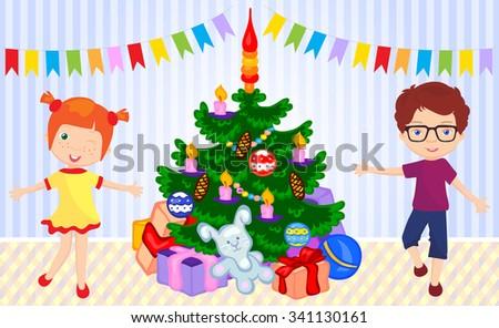Boy and girl dancing around the christmas tree. Vector cartoon illustration - stock vector