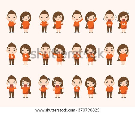 Boy and girl emotion characters - stock vector