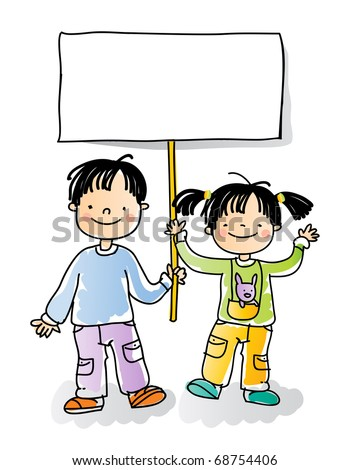 boy and girl holding blank sign, cartoon kids watercolor style series. grouped and layered for easy editing - stock vector