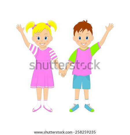 boy and girl holding hands and waving their hand, illustration, vector - stock vector