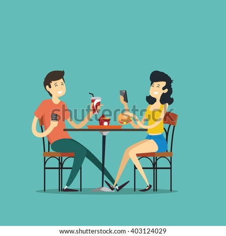 Boy and girl in a street Cafe. Vector illustration.