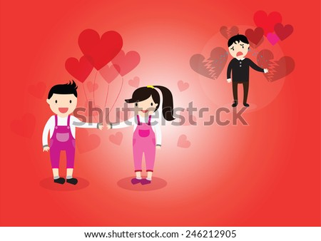 Boy and Girl in love as a result some boy was crying heartbreak of love. - stock vector