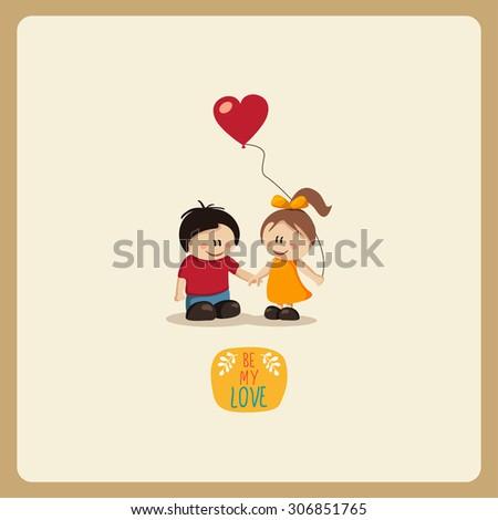 Boy  and Girl in Love.vector - stock vector