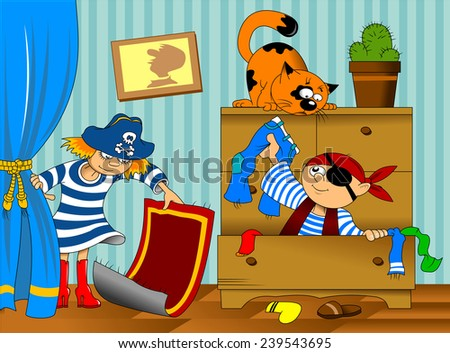 boy and girl in pirate costume looking for hidden treasure - stock vector