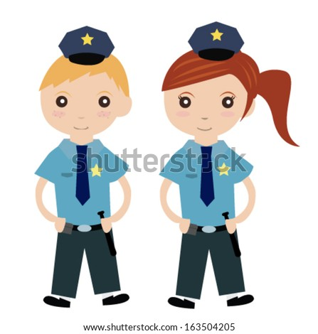 Boy and girl in police costume - stock vector