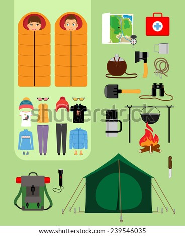 Boy and girl in sleeping bags next to tent with campfire and backpack. Facilities for tourism, recreation, survival in the wild. Vector illustration - stock vector