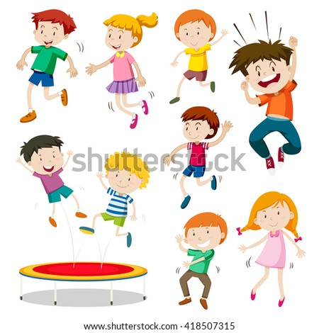 Boy and girl jumping on trampoline illustration - stock vector