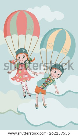 boy and girl jumping with parachutes together