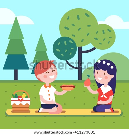 Boy and girl kids having lunch picnic on the park grass. Smiling kids characters. Modern flat vector illustration clipart. - stock vector