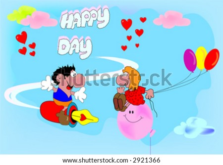 boy and girl on clouds celebrate birthday