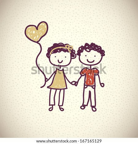 boy and girl   over pattern background vector illustration